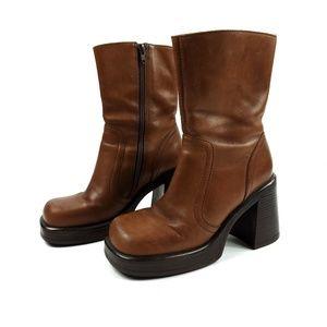 Vintage Steve Madden Leather Chunky Bridge Boots